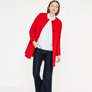 Zara Red Snap Button Structured Jacket Coat
